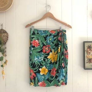 Vintage Tropical Wrap Skirt